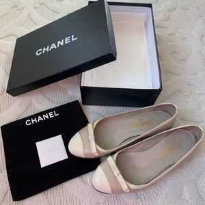 Chanel Authentic leather ballet flats 7.5 38 shoes